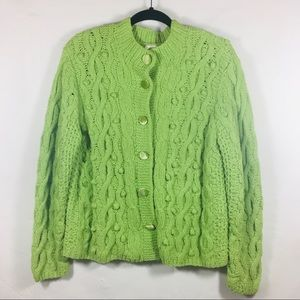 J. Jill Lime Chenille Cable Knit Cardigan